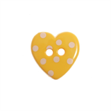 Small Plastic Dotty Heart shaped button - various colours - 15mm diameter