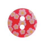 Small Plastic Printed Flower Button - various colours - 12mm diameter